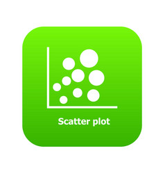 Scatter plot icon green vector