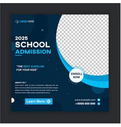 School admission social media post banner template vector