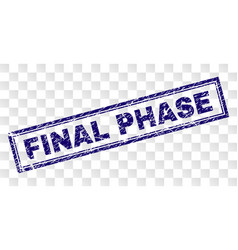 Scratched final phase rectangle stamp vector