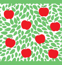 seamless leaves pattern with apple vector image