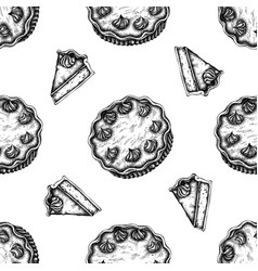 seamless pattern with black and white pumpkin pie vector image