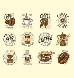 set coffee logos modern vintage elements vector image