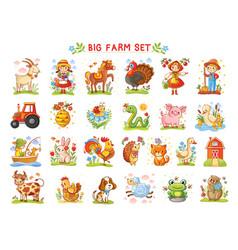 Set farm animals vector