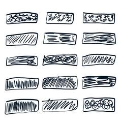 Set hand drawn rectangular scribbles design vector
