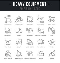 Set line icons heavy equipment vector