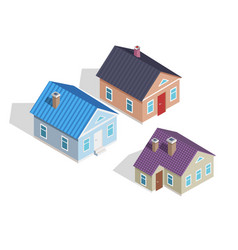 Set of 3d small isometric houses with chimneys vector
