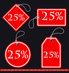 set of bright red-white sale banners with various vector image
