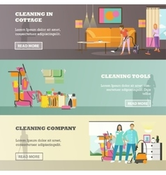 set of cleaning service concept banners in vector image