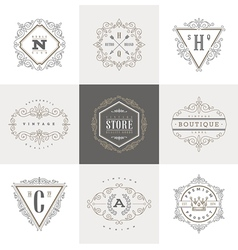 Set of Monogram calligraphic logo vector image