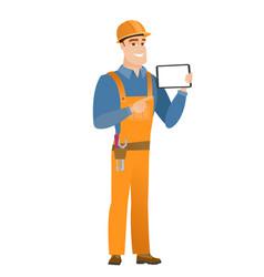smiling builder holding tablet computer vector image