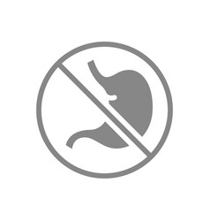 Stomach with prohibition sign grey icon vector