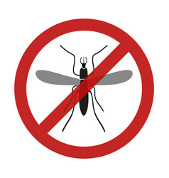 stop mosquito insect red restriction sign eps10 vector image