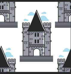 swiss brick tower seamless pattern chillon castle vector image