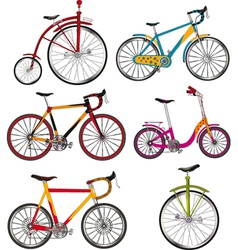 The complete set of bicycles vector image