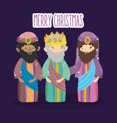 three wise kings characters manger nativity merry vector image