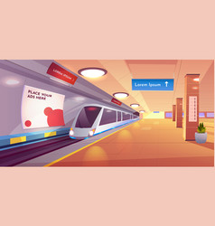 Train in metro station empty subway platform vector