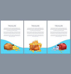 Treasure posters set bags with briliants and gold vector
