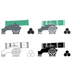 Tsar cannon colored and outline vector
