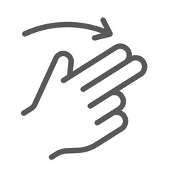 Two finger flick right line icon gesture and hand vector