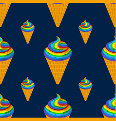 Unicorn ice cream seamless pattern rainbow vector