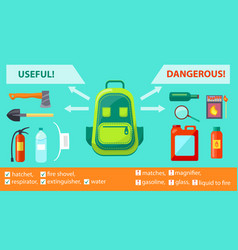 Useful dangerous objects on fire-related poster vector