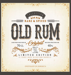 Vintage old rum label for bottle vector