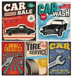 vintage set cars for advertising vector image