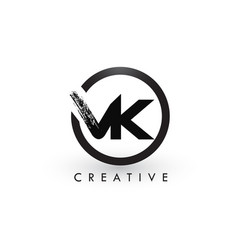 vk brush letter logo design creative brushed vector image
