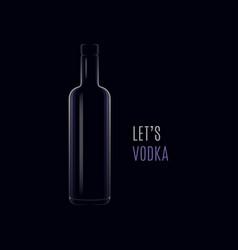 Vodka dark logo bottle with cap on black vector