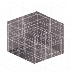 White lines above brown cube vector