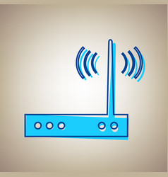 Wifi modem sign sky blue icon with vector
