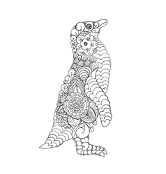 Zentangle stylized cute penguin vector image