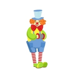 Colorful Friendly Clown With Miniature Accordion vector image vector image