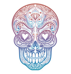 colorful mexican decorative skull tattoo vector image vector image