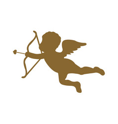 cute cupid silhouette on white background vector image