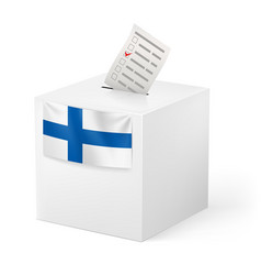Election in finland ballot box with voicing paper vector