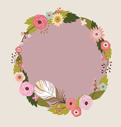 Floral wreath with feather vector image