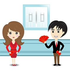 hold with chinese red pocket vector image