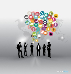 People with cloud of application icons vector image