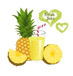 Pineapple juice isolated on white background vector image