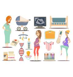 pregnancy flat icon set vector image