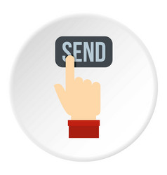 send button and hand icon circle vector image