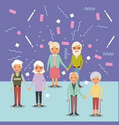 three couple the elderly man and woman vector image
