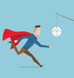 businessman with red cape running follow clock vector image vector image