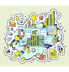 color of analytical work on light background vector image