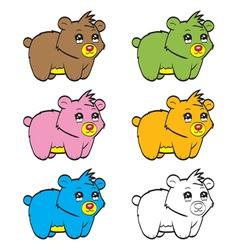 Cute cartoon baby bear vector image