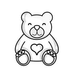 line nice teddy bear toy to game vector image