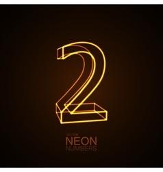Neon 3D number 2 vector image vector image