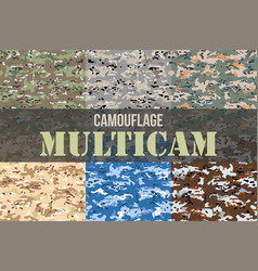 set of multicam camouflage seamless patterns vector image vector image