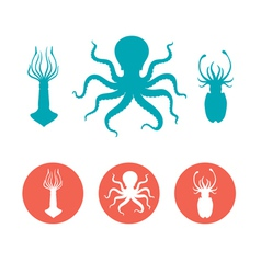 Set of the seafood flat icons vector image vector image